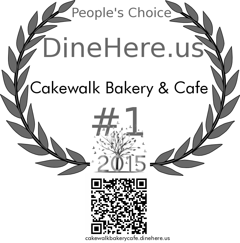 Cakewalk Bakery & Cafe DineHere.us 2015 Award Winner