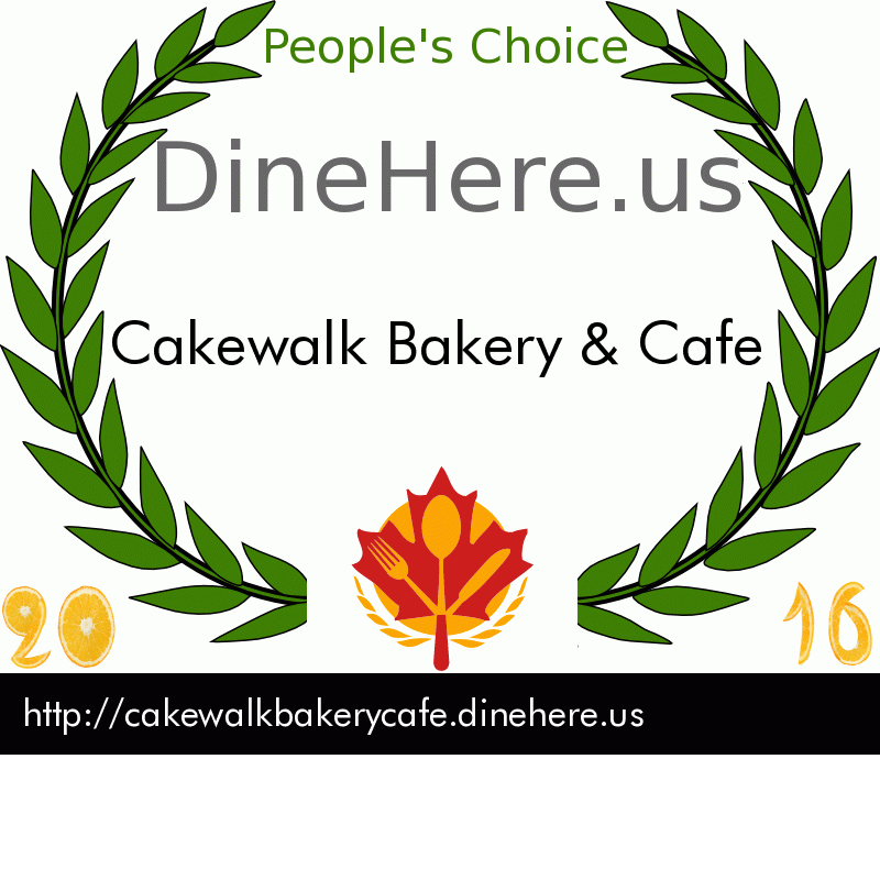 Cakewalk Bakery & Cafe DineHere.us 2016 Award Winner